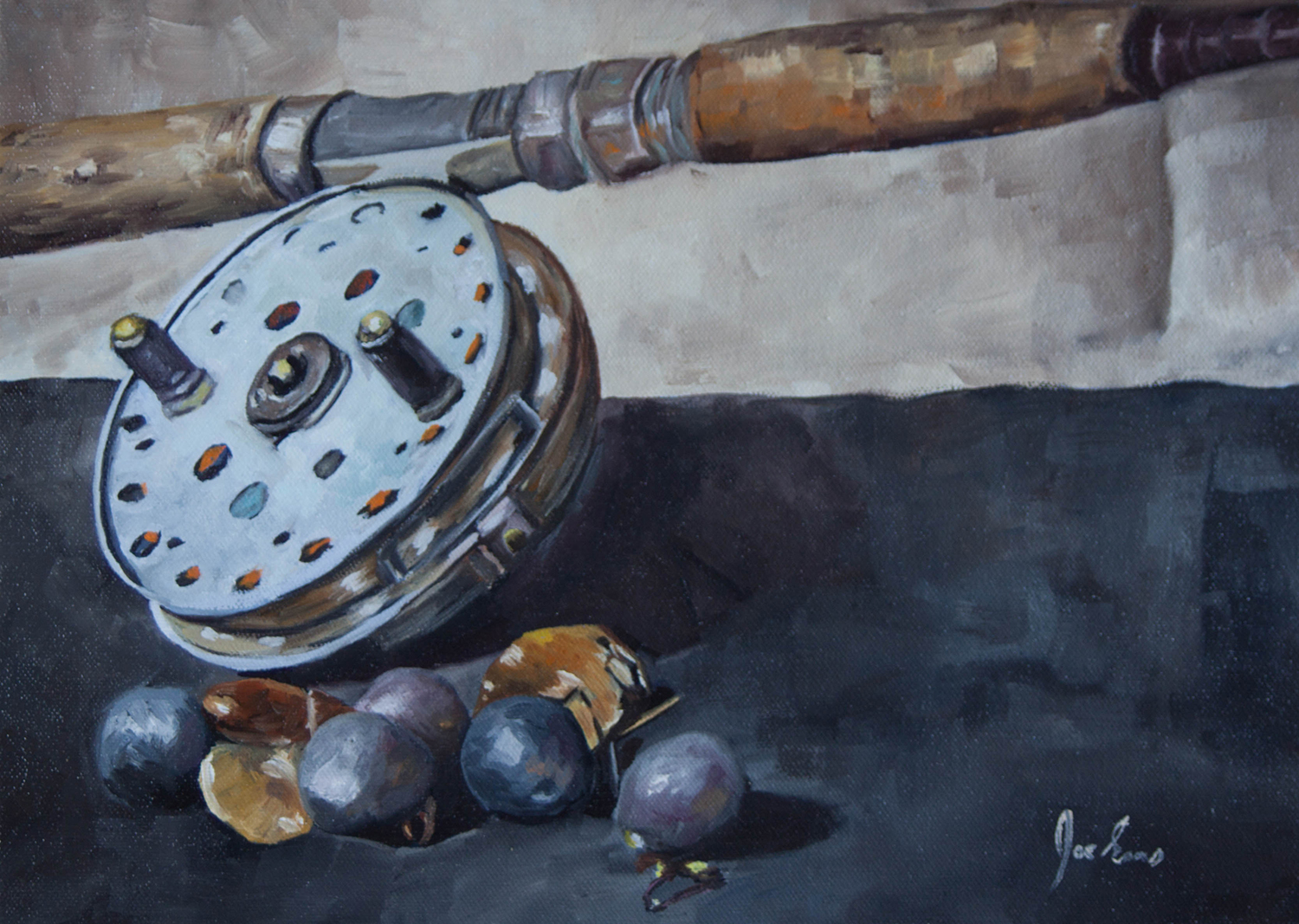 """Reel and Gear"" is a still life oil painting by Joe Enns done from a photo that Joe took of an old fishing rod and reel that belonged to his father along with some river fishing gear."