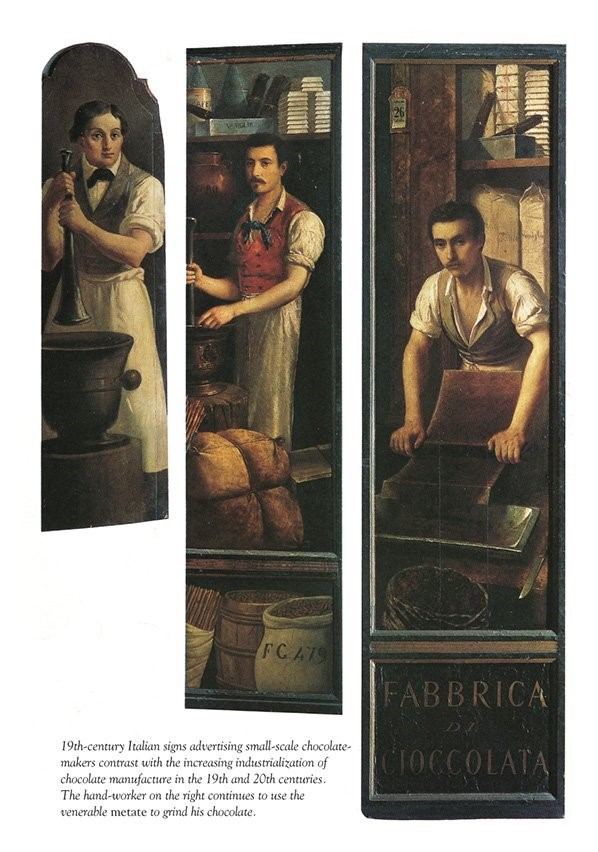 Traditional chocolate making in Italy in the 1800's.