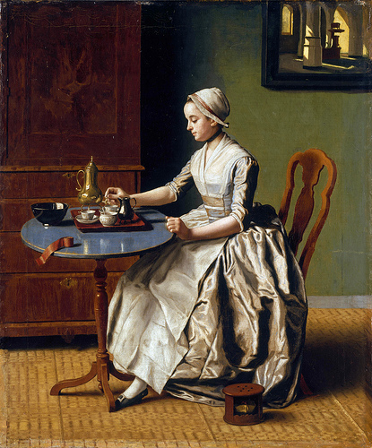 A Lady Pouring Chocolate by Swiss Painter Jean-Etienne Liotard, C. 1745.