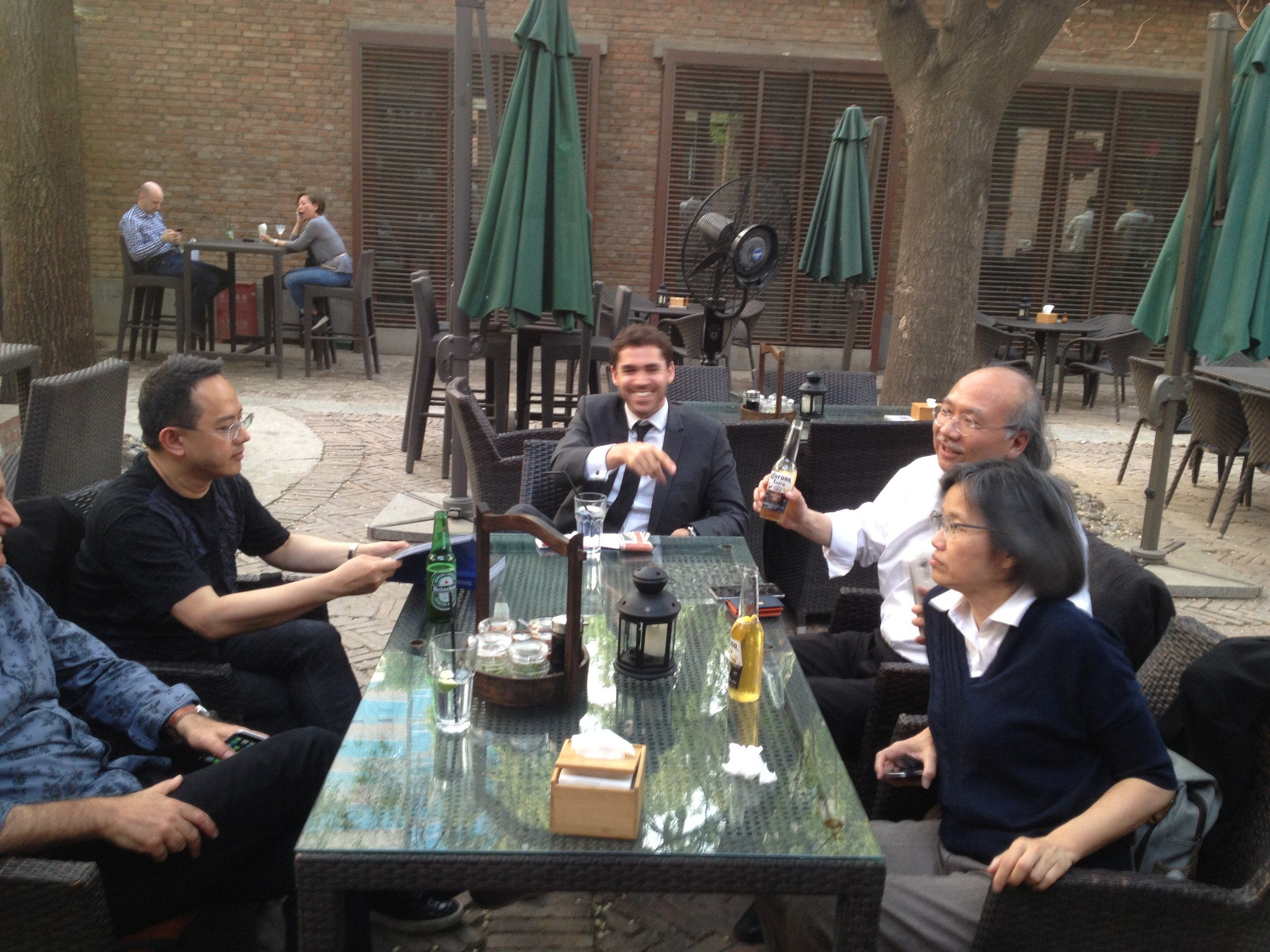 All CEO's of architecture firm, relaxing after conference.