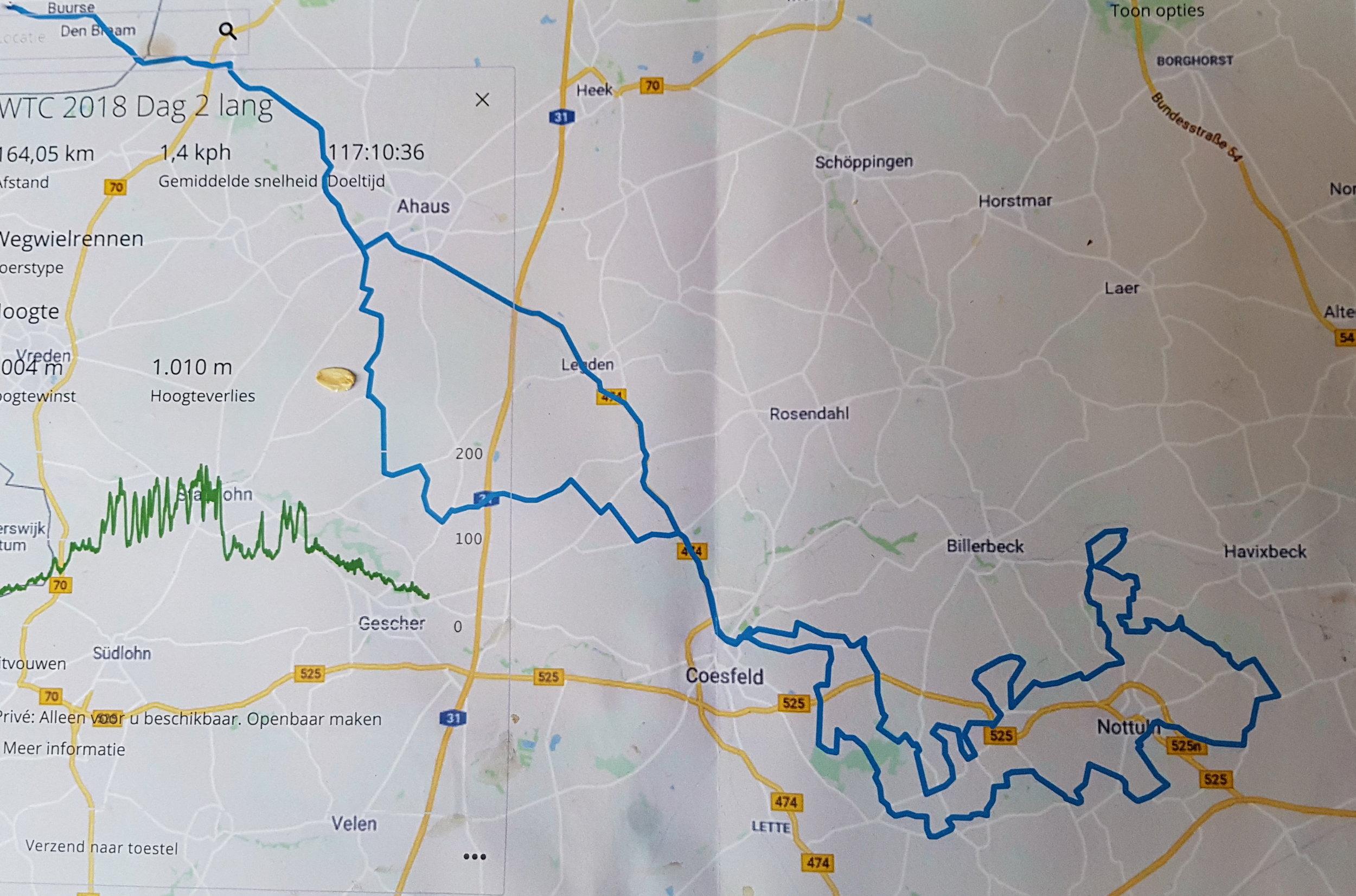 De route van de 2e dag: de koninginnenrit van bijna 160 km met 1 km hoogteverschil. De route lijkt op de route van de  Baumberge  tocht van FTC Wenters uit Winterswijk.