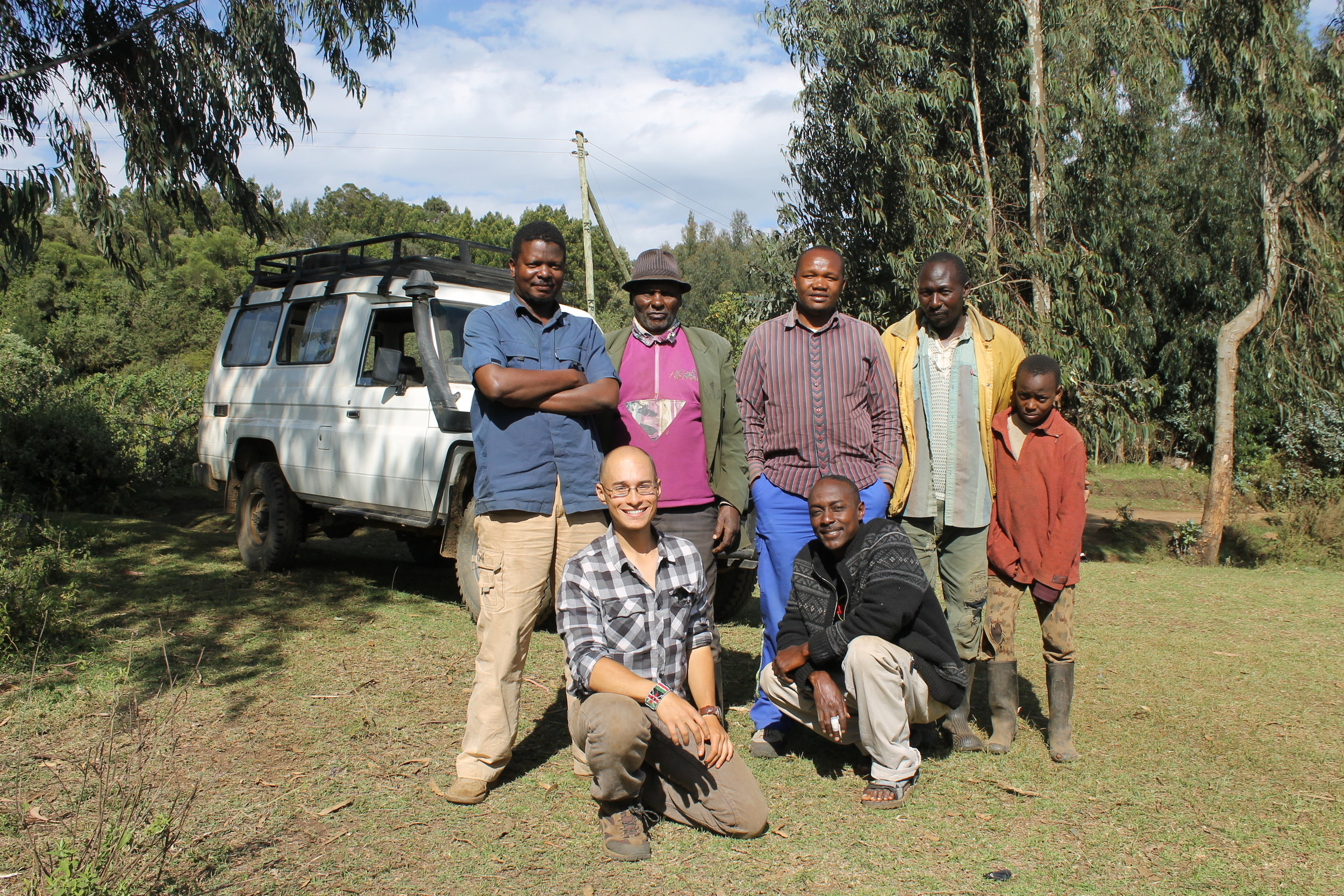 The 2014 Research Team. Back row from left to right - Francis Nduulu Mutua, John Kimani, John Munyiri, F. N'yany'a. Front, left to right- Steve Goldstein, M. Kukenga.