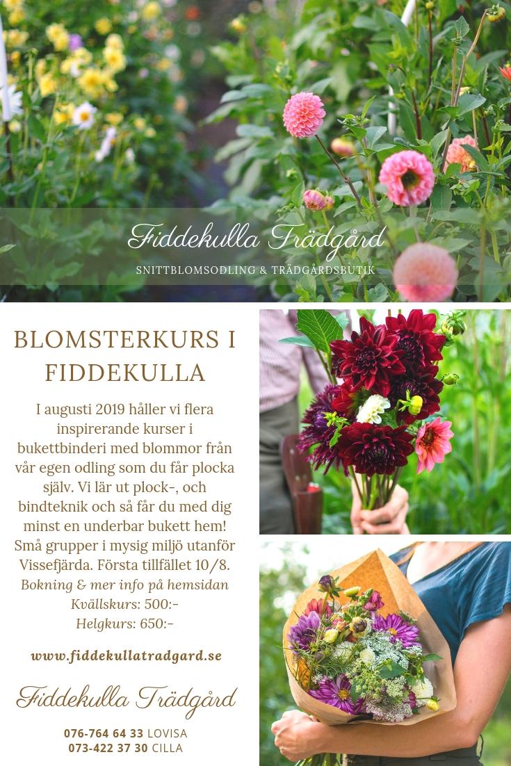 Blomsterkurser hos oss - Nu har vi äntligen släppt datumen för blomsterplock och bukettbinderi här i Fiddekulla. Du får plocka de mest underbara blommorna och vi lär ut plock-, & bindteknik samt en massa bra tips för snittblommor.Hoppas vi ses! :)