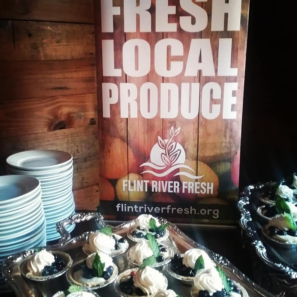 Local blueberries used in farm-to-table catered event.