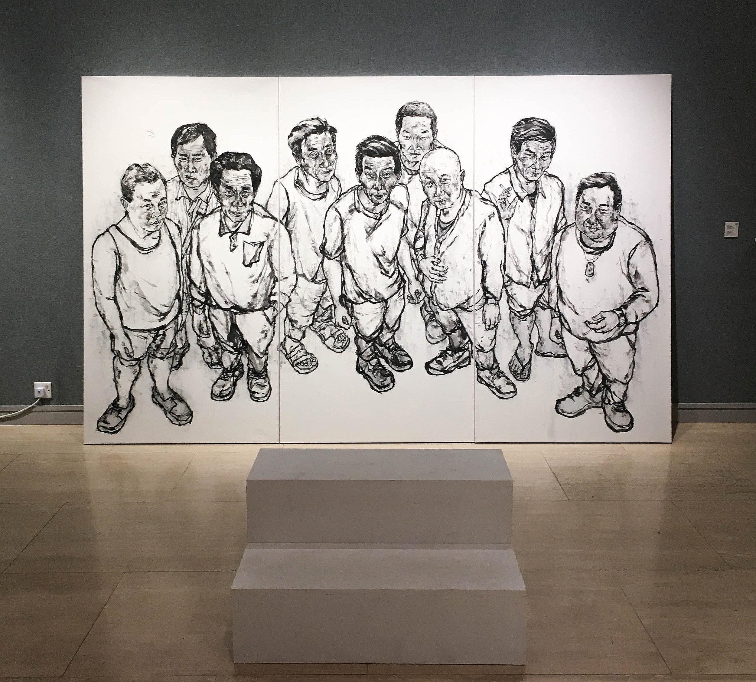 Wong Yuk Shan, 'Those Gazing Mexzxzxzxzn', 2018, ink on Chinese paper, step platform, 97 x 291 cm. Image courtesy the artist and Fresh Trend.