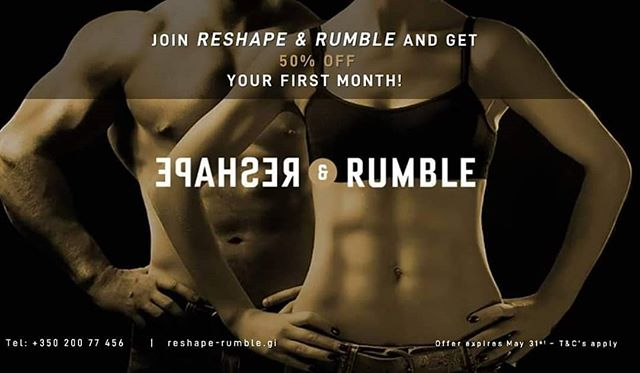 Are you ready to make a change?  Are you ready to Reshape & Rumble?  Join now and get 50% discount on your next month fee!  Contact us to find us more.  oana@reshape-rumble.gi +350 200 77456  www.reshape-rumble.gi  #mayoffer #discount #reshape #rumble #classes #hiit #treadmill #boxing #weights #shapeyourbody #core #abs