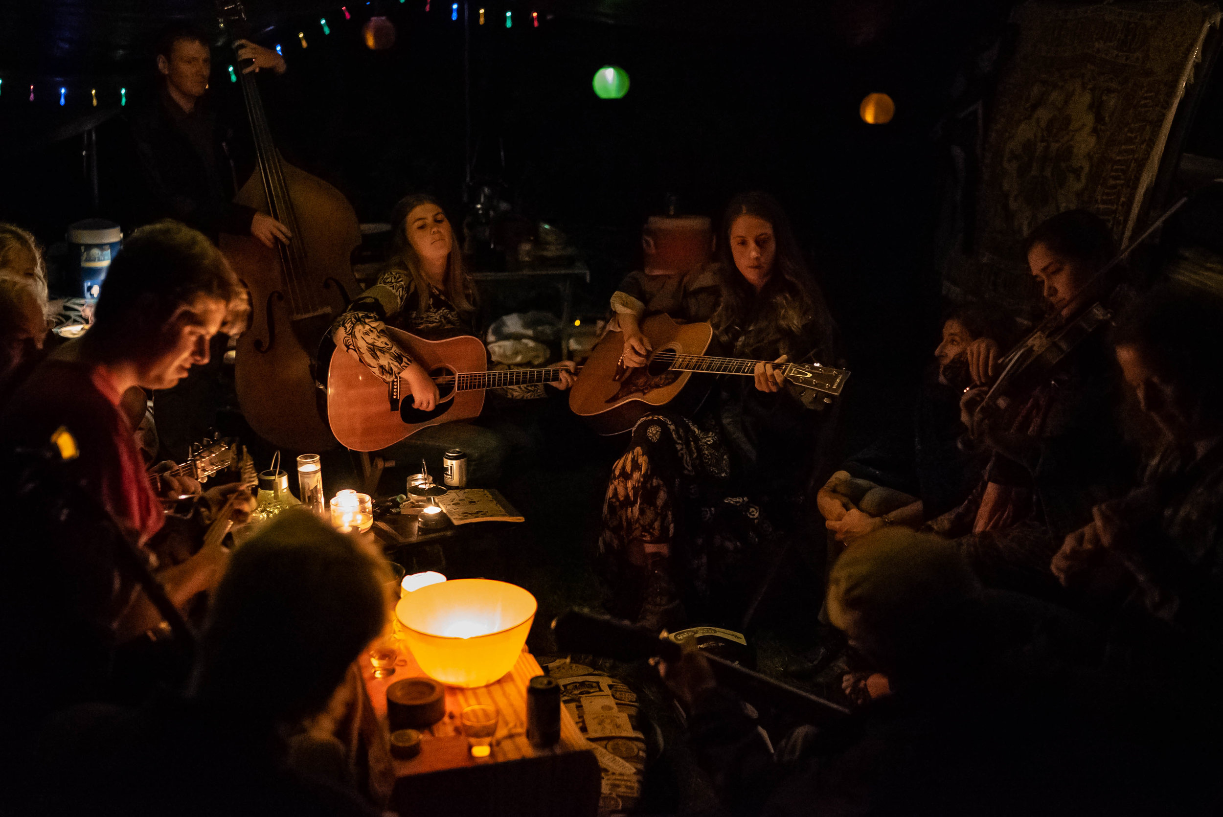 A 2am jam in the on-site camping area at Rocky Grass.