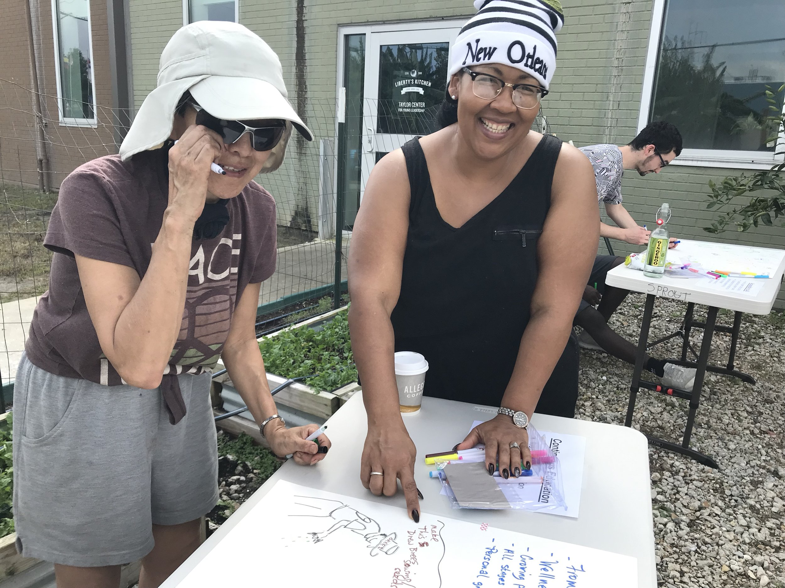 Community gardeners Lexa and Monicka at our community mural planning day! (2019)