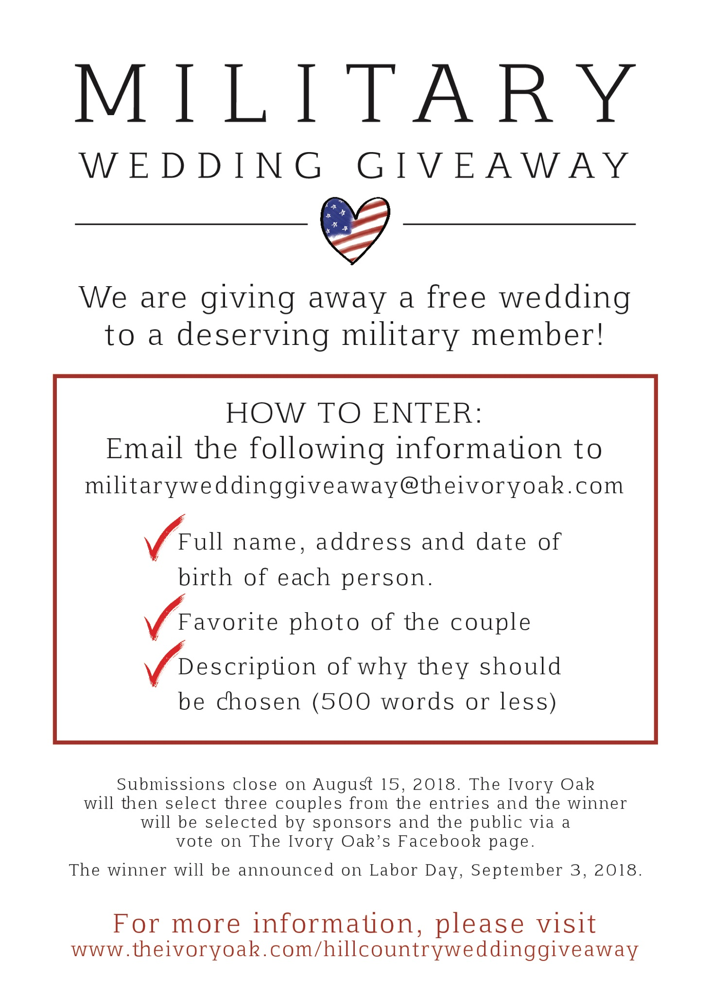 The Ivory Oak - Military Wedding Giveaway Flyer.jpeg