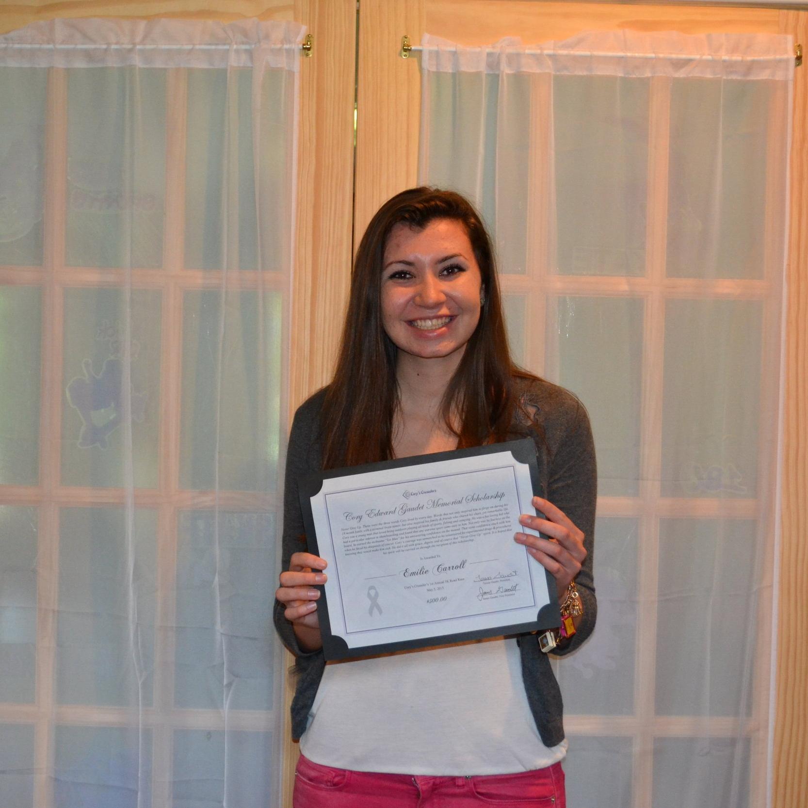 Emilie Carroll 2013 1st Annual 5K Scholarship recipient.JPG