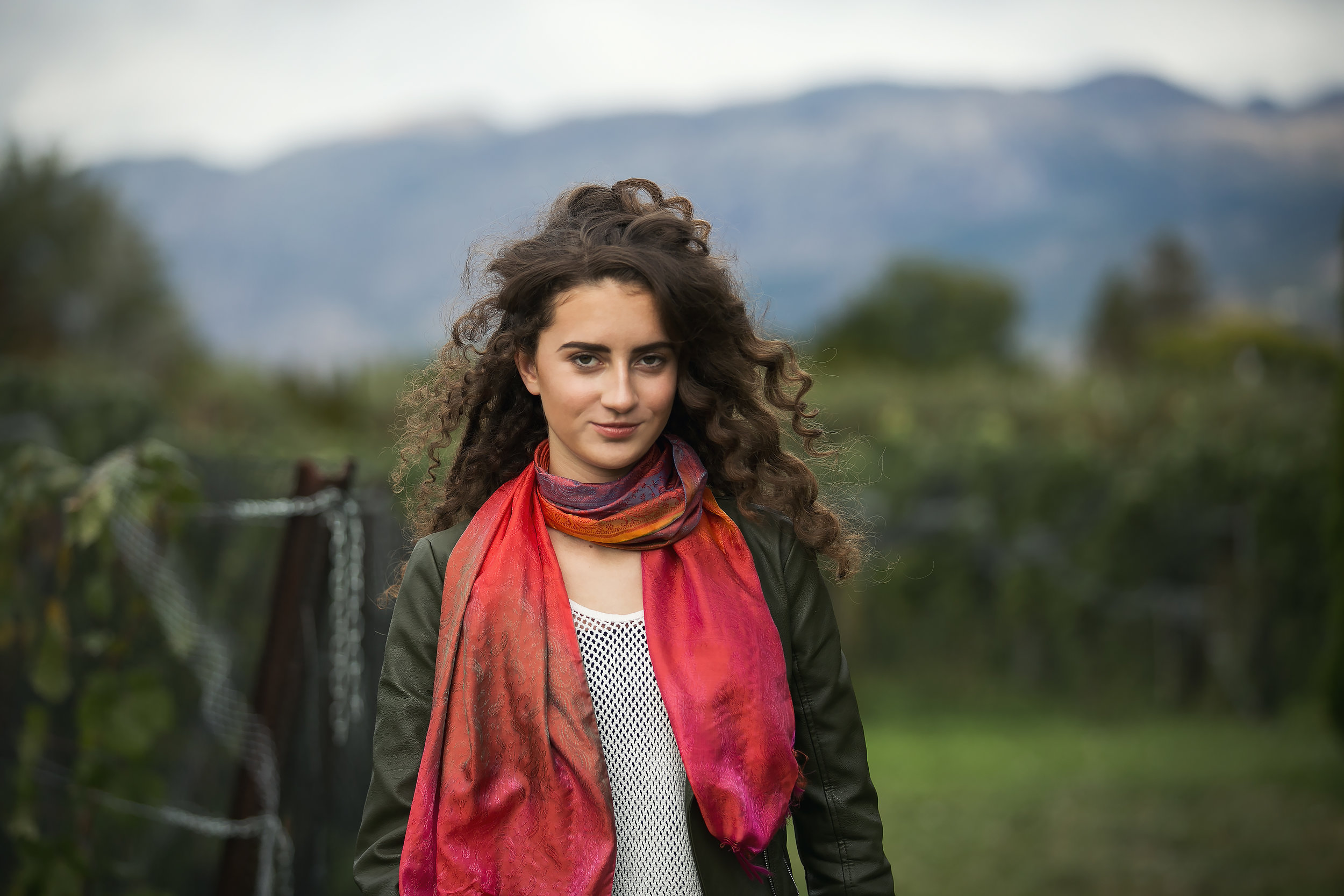 Johanna in the vineyard - looking stunning with her hair and makeup done by Tamie Taylor
