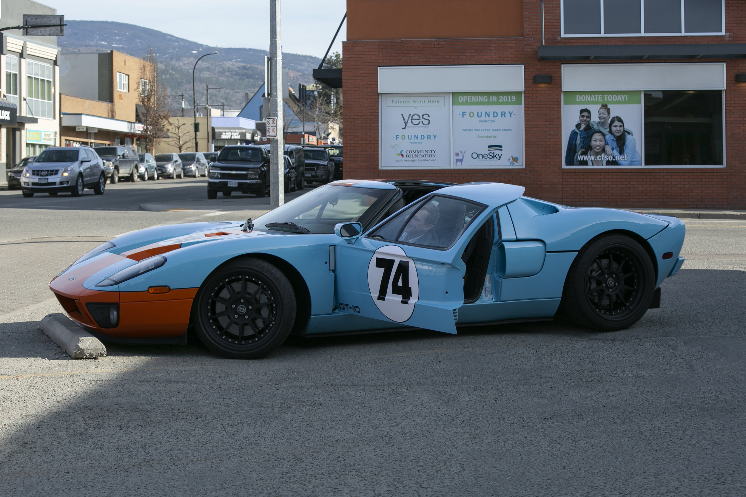 Tom Budd in his Gulf GT40 - after touring the YES Project and The Foundry in Penticton early April 2019.