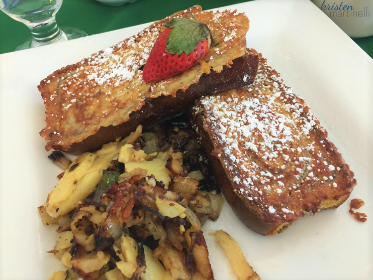 Description: Two thick slices of homemade cinnamon bread, egg battered, griddled. Served with Adirondack home fries