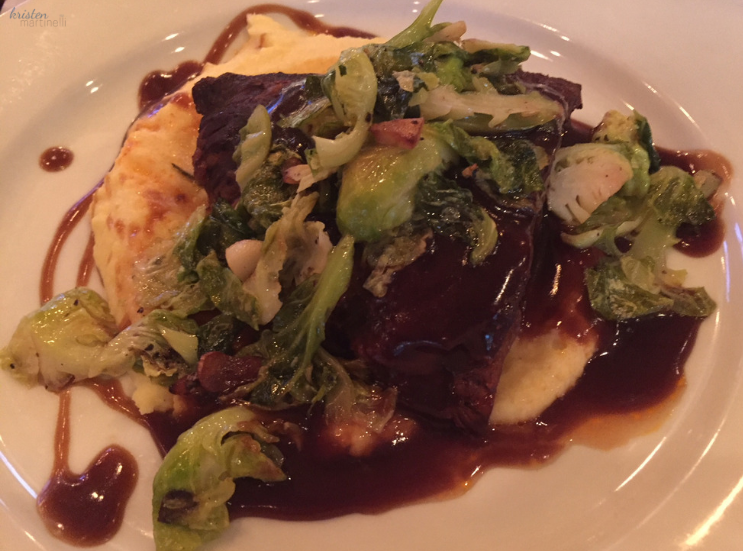 Braised short ribs, soft polenta & brussel sprout leaves