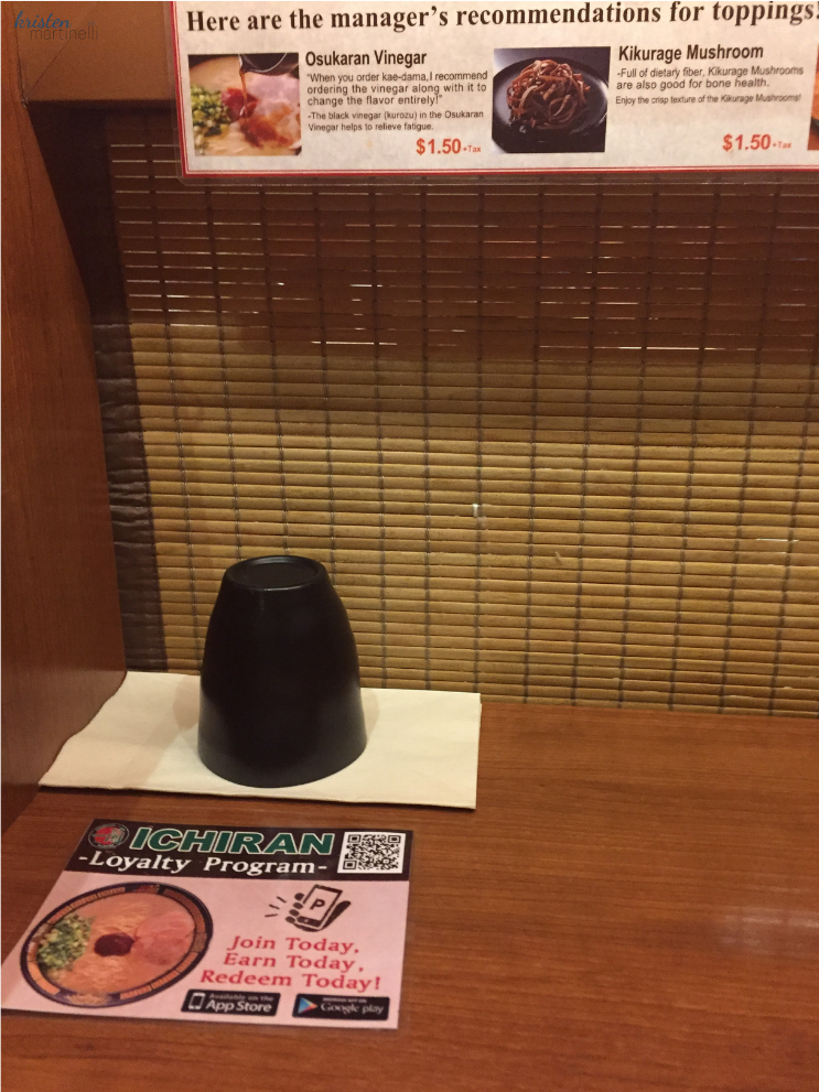 Ichiran  Ramen for Solo Diners_Privacy Wall_Midtown NY_NYC_K.Martinelli Blog_Kristen Martinelli
