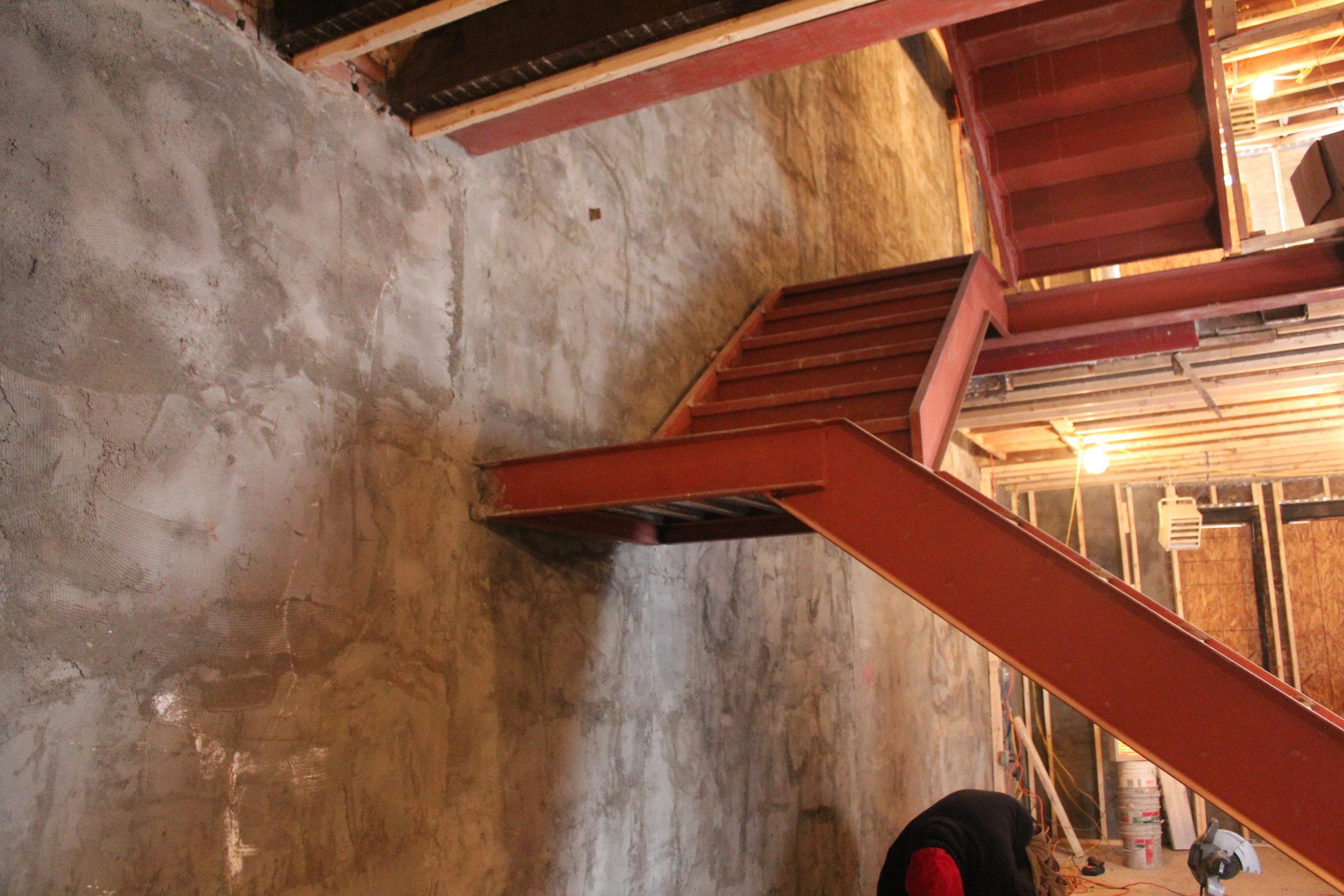 Steel stair framing: Passive House Brownstone