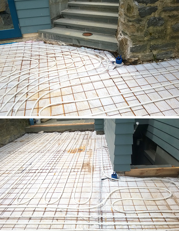 Radiant heat melt installation: Riverdale Home