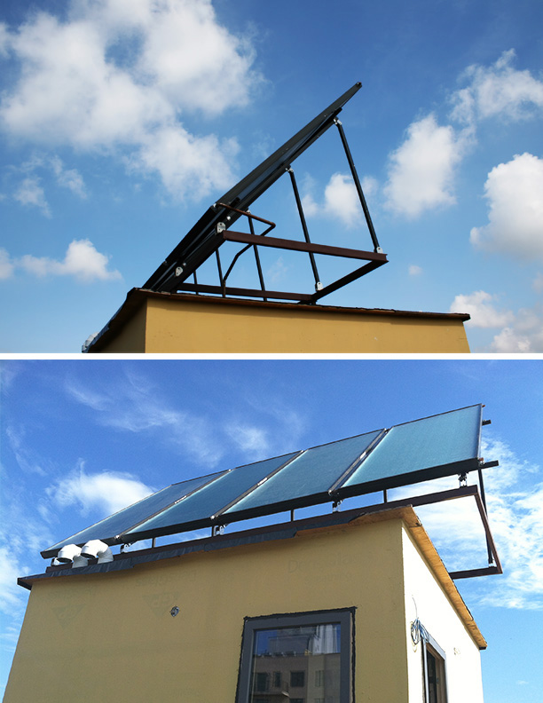 Solar hot water panels: Passive House Brownstone