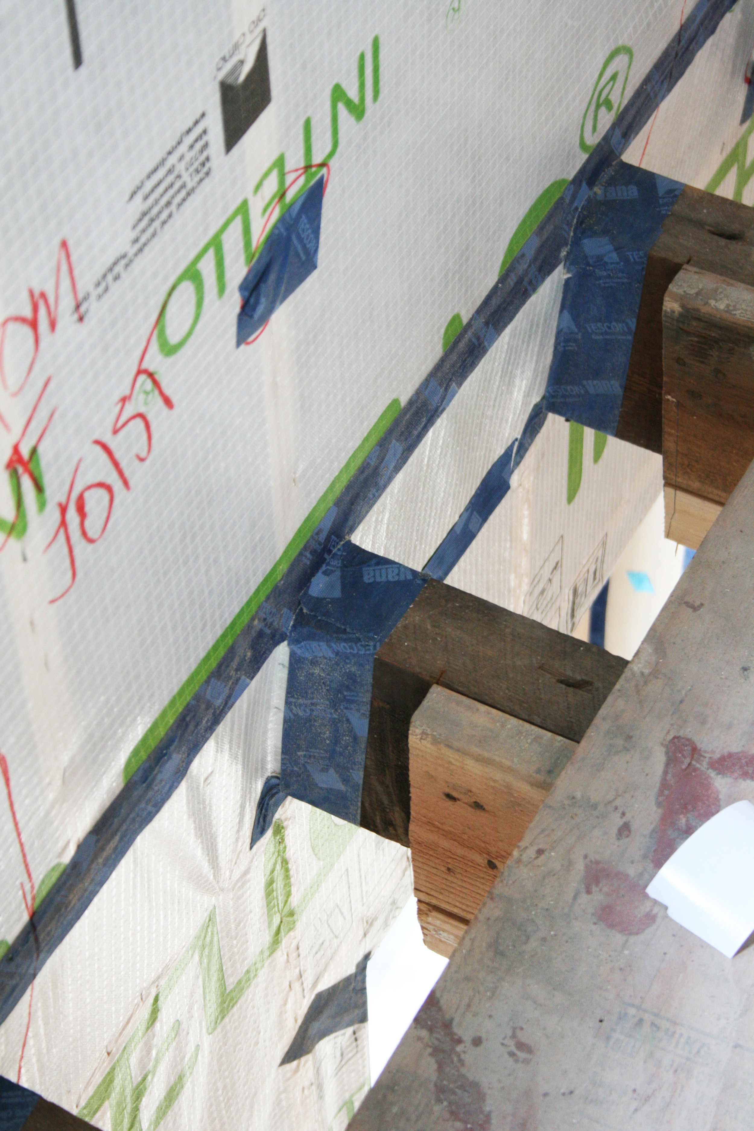 Air barrier connection: Passive House Brownstone