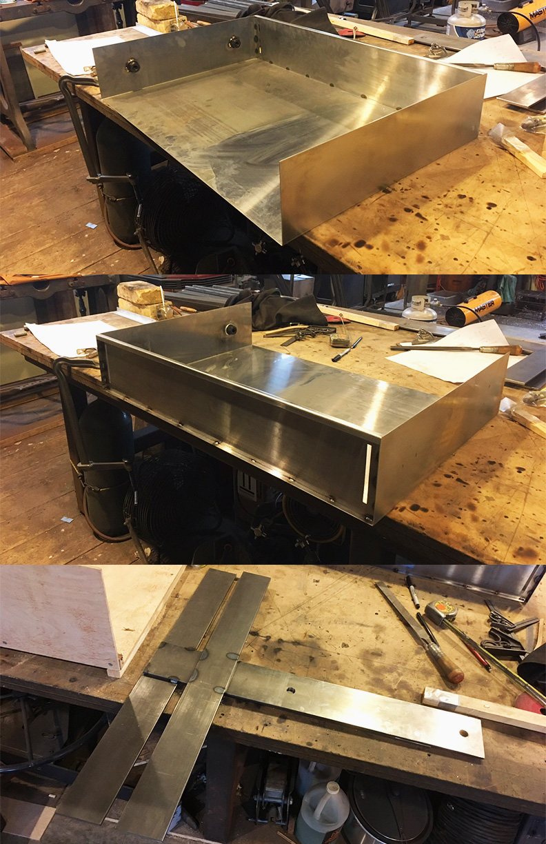 Floating desk structure: Prospect Heights Brownstone, Magma Metalworks
