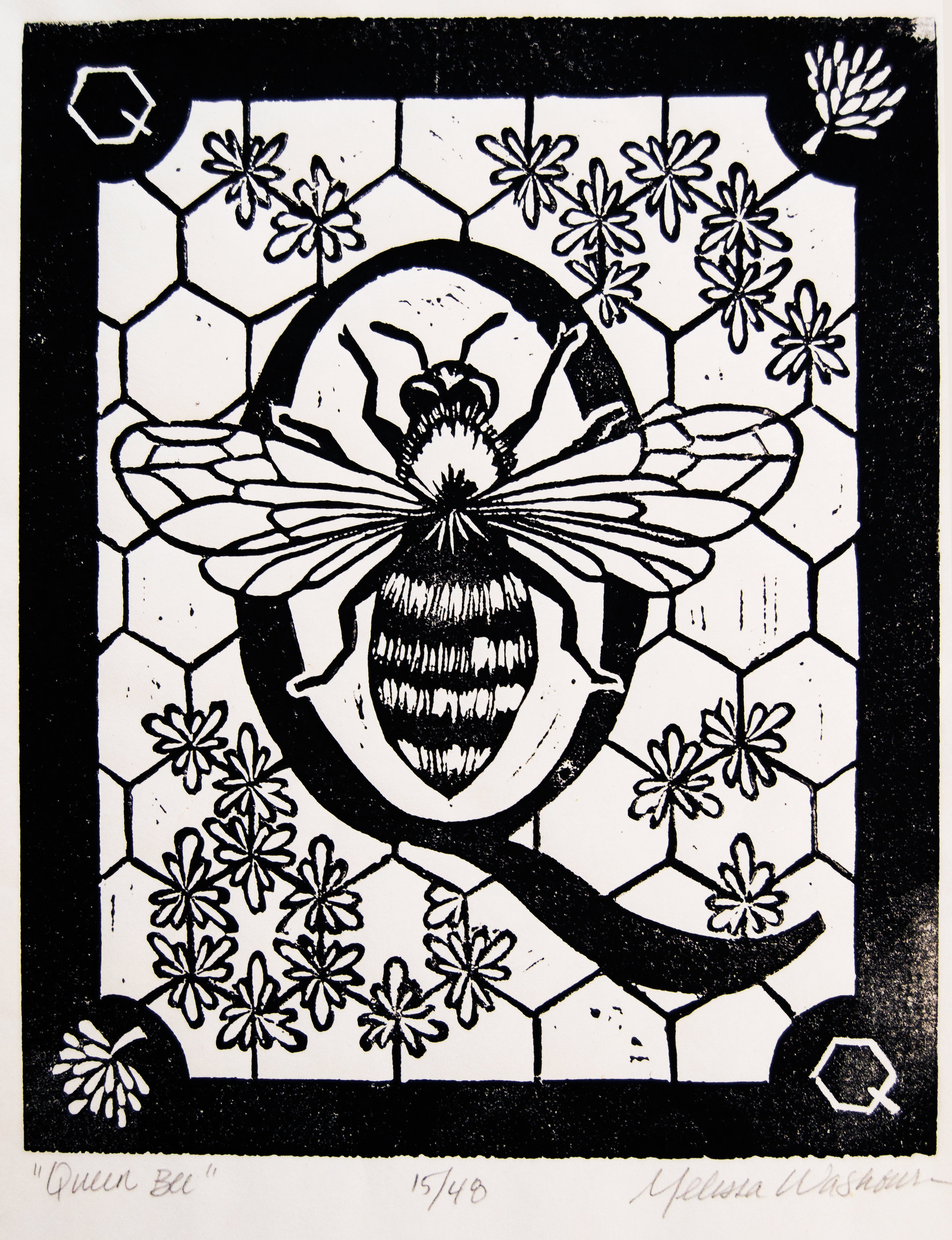 Queen Bee,  linocut block print