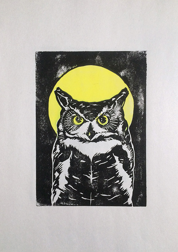 Great Horned Owl,  linocut print