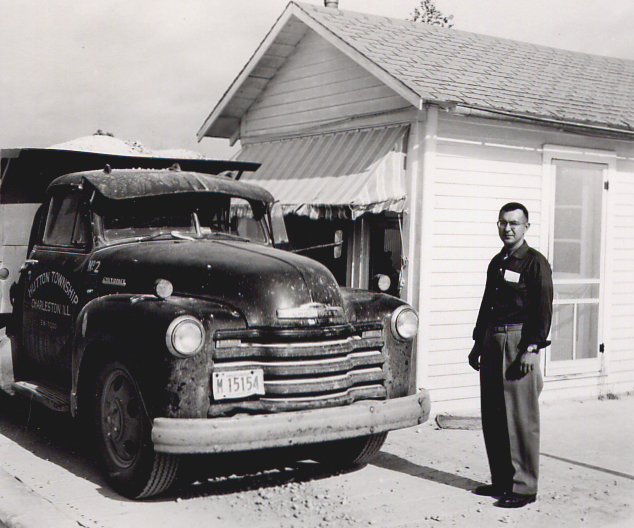 Martin Tarble in front of the original scalehouse in Charleston, IL in the mid 1950s.