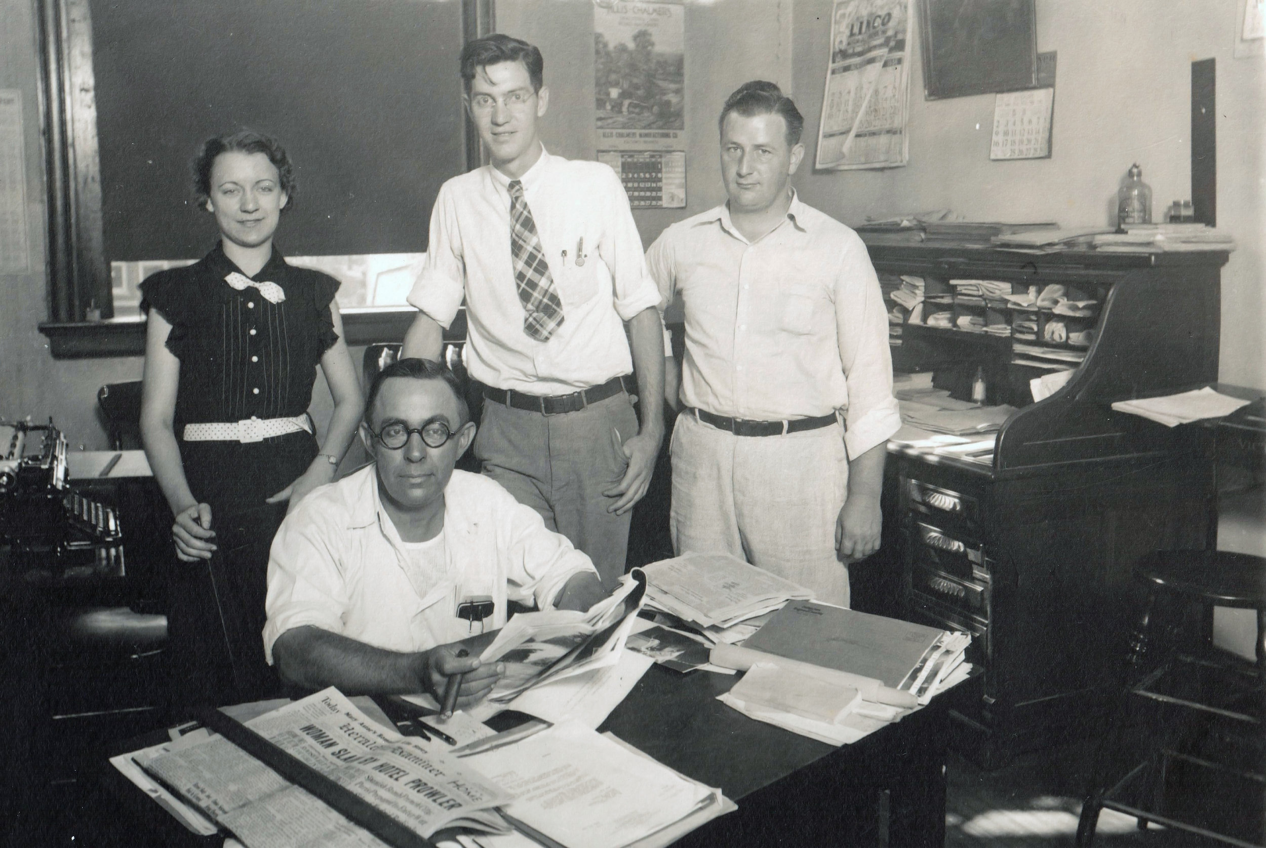 Van Tarble and his staff in the County Superintendent of Highways office in 1934.