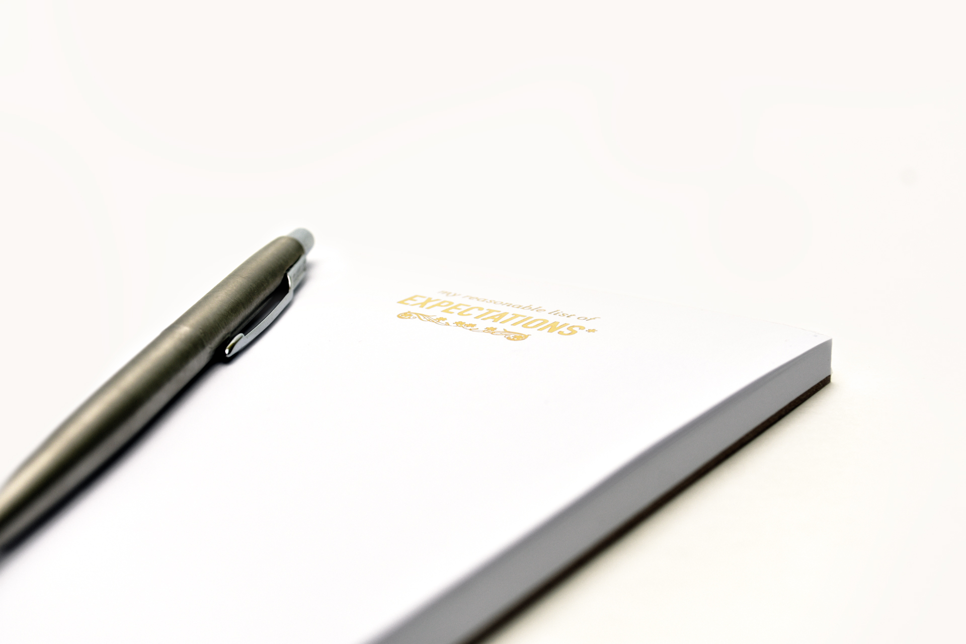 Notepad in gold-foil - Record Thoughts and RemindersElegant, foil-stamped notepad is designed to quickly reflect thoughts, feelings, and reminders.