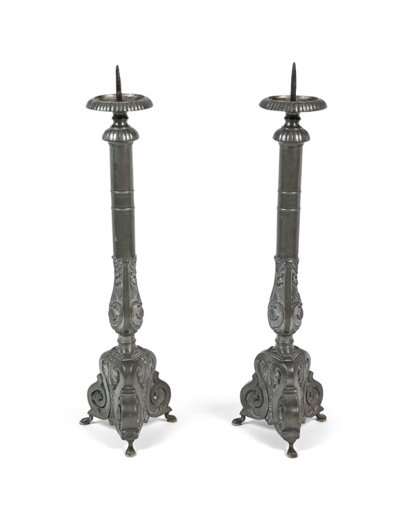 French 19th Century Pewter Candle Sticks