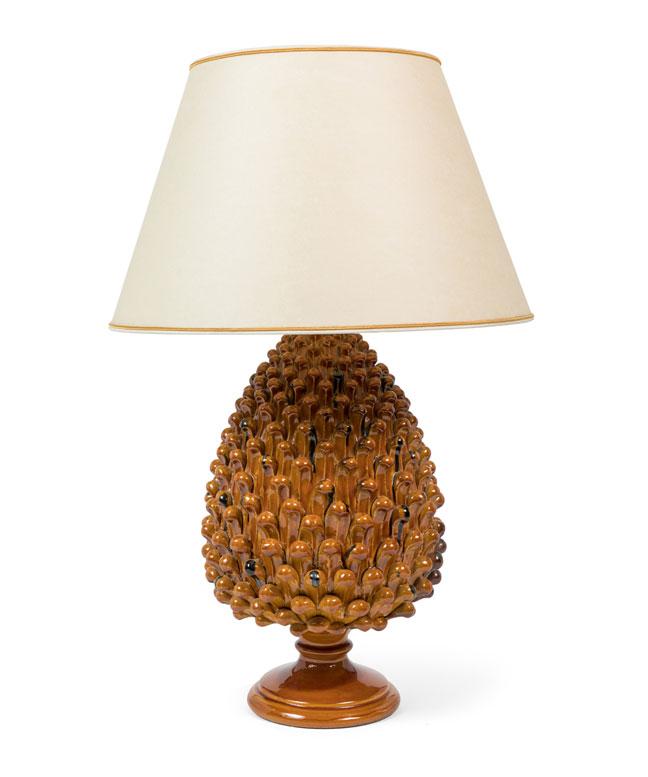 Pair of Italian Ceramic Pineapple Lamps