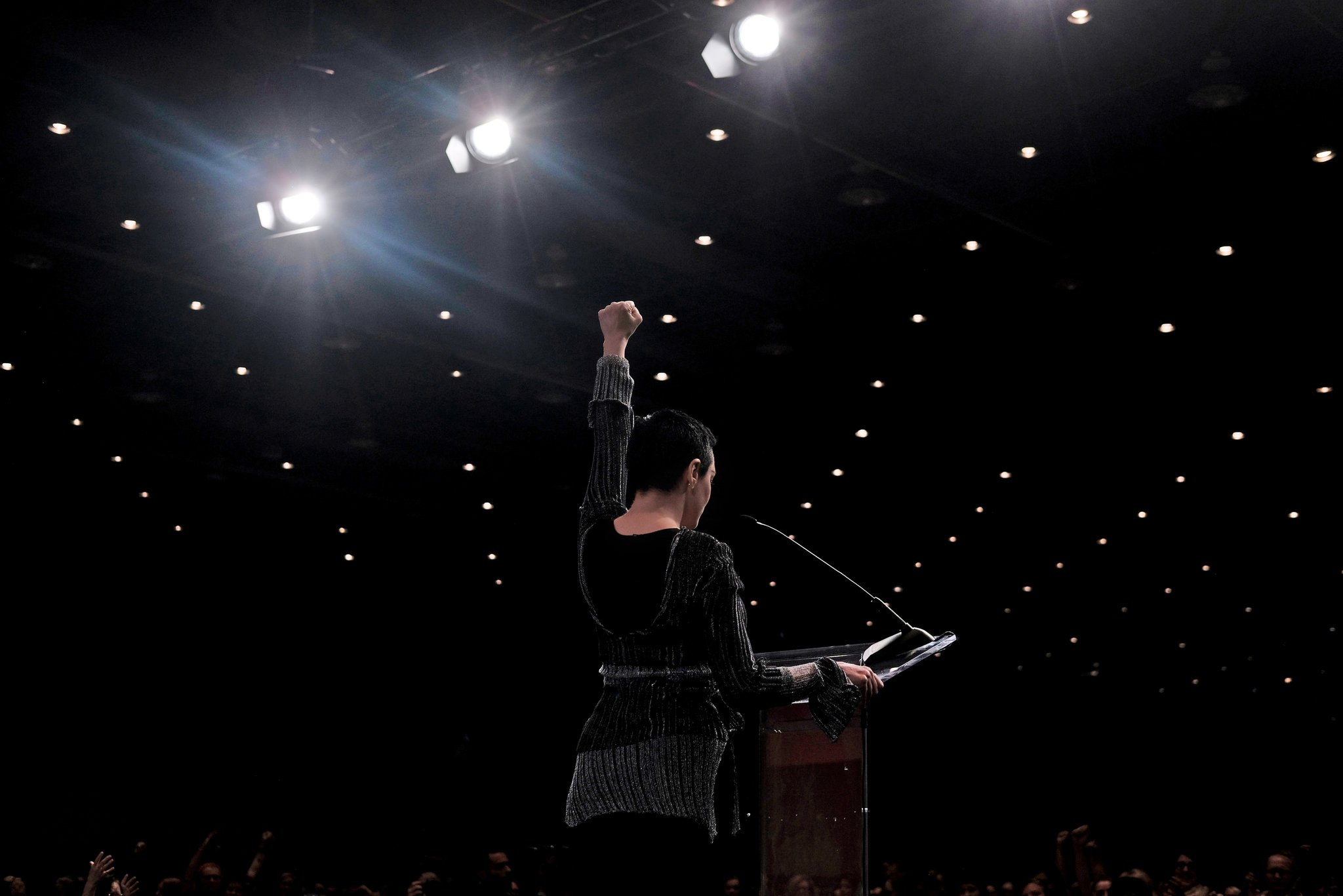 Rose McGowan spoke at the opening session of the Women's Convention in Detroit on Friday.CreditCreditErin Kirkland for  The New York Times