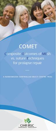 Dr Roxana Geoffrion's CIHR Project Grant: COMET – Composite Outcomes of MEsh vs suture Techniques for prolapse repair: A randomized controlled multicentre trial. - COMET: Composite Outcomes of Mesh vs suture Techniques for prolapse repair is the first CIHR-funded trial in pelvic reconstructive surgery in Canada. Collaborations from urogynecologists across BC and Canada; include Dr. Geoffrey Cundiff (UBC), Dr. Fariba Mohtashami (Fraser Health, Langley Memorial Hospital), Dr. Darren Lazare (Fraser Health), Dr. Chelsea Elwood (UBC), Dr. Momoe Hyakutake (University of Alberta), Dr. Erik-Jens Walter (McGill University) and Dr. Maryse Larouche (McGill University). Co-PIs include Dr. Joel Singer, Dr. Lori Brotto and Dr. Wei Zhang.April 19, 2018.