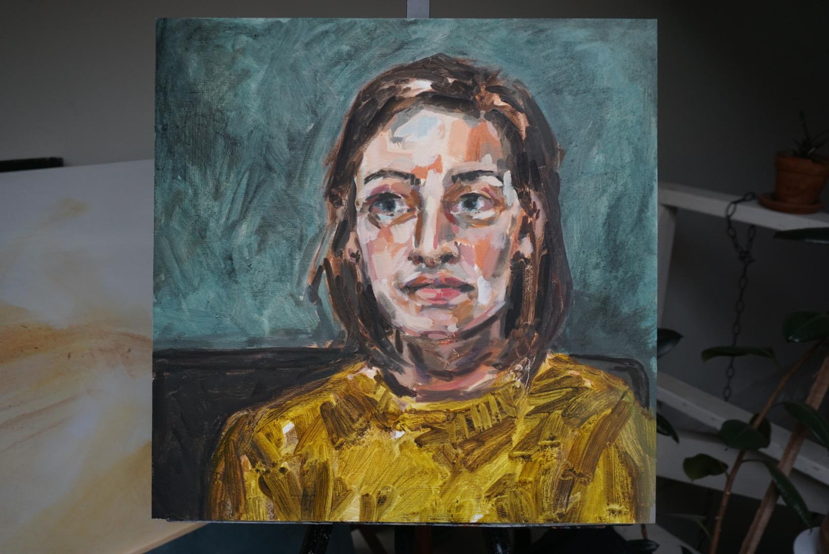 """Megan on a Saturday  Oil paint on board  18"""" x 18""""  $475"""