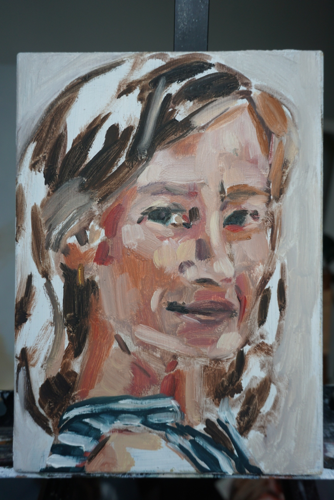"Alexa  Oil paint on board  8"" x 10""  $175"