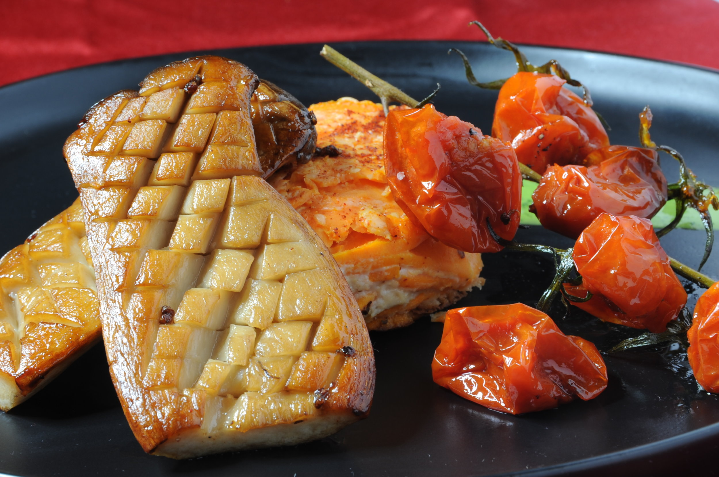 Seared Trumpet Mushroom with Sweet Potato Gratin and Roasted Tomatoes