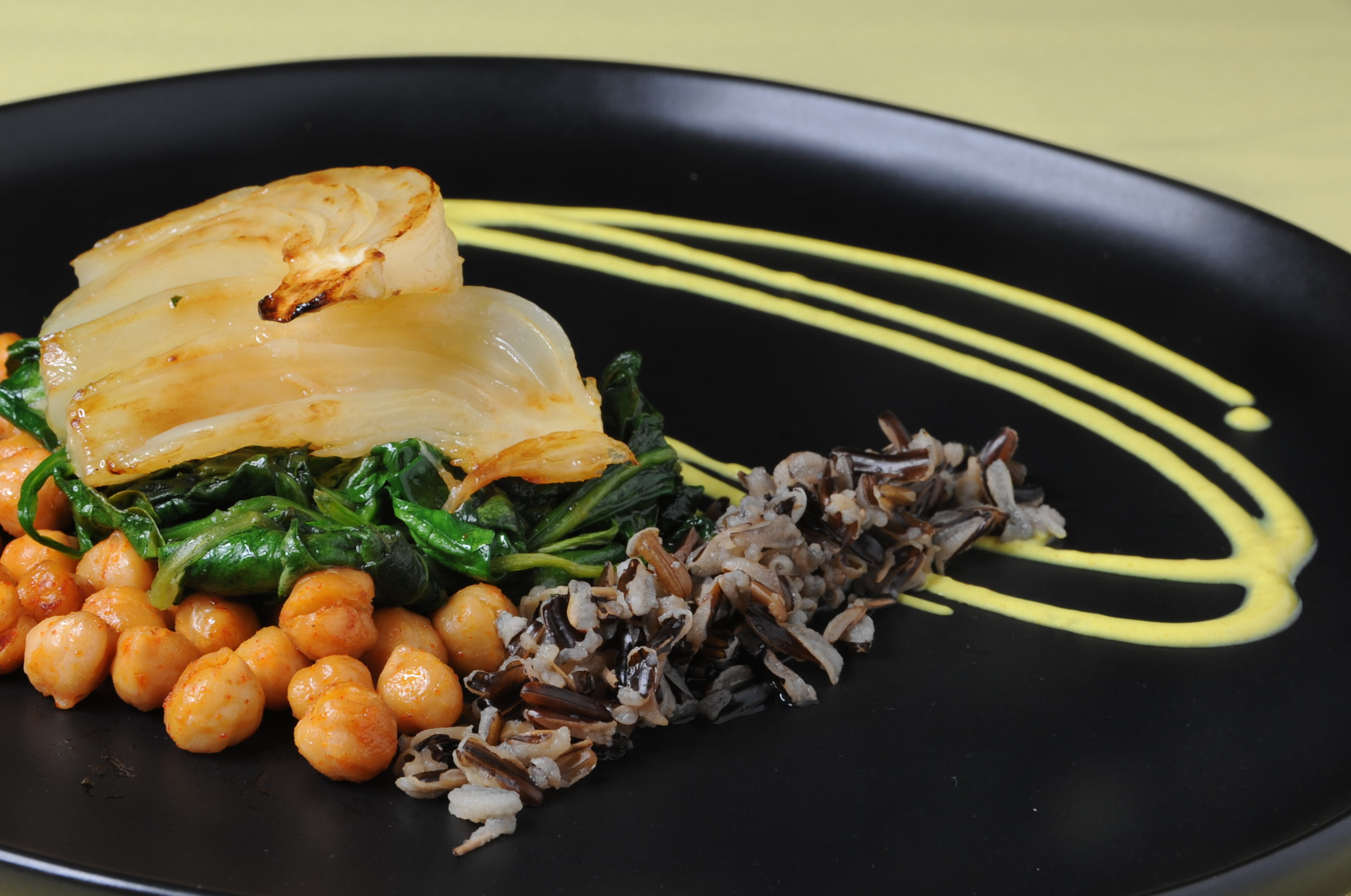 Braised Fennel, Roasted Chickpeas, Wilted Spinach with Coconut Curry