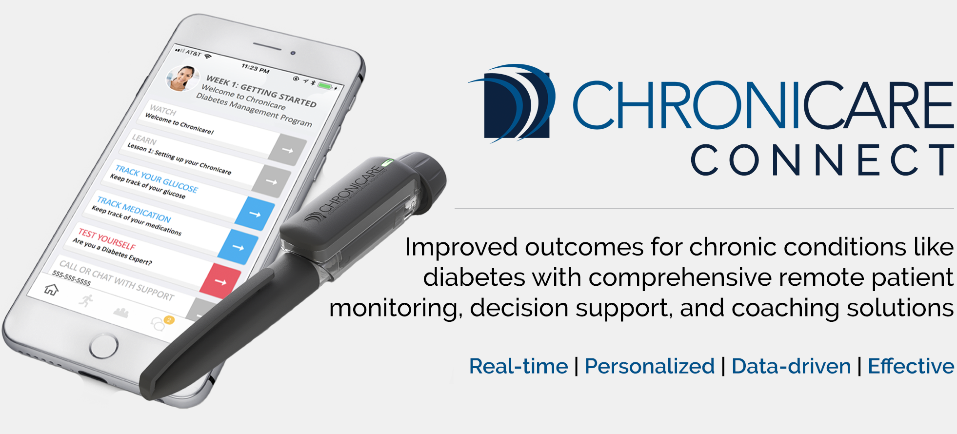 Improved outcomes for chronic conditions like diabetes with comprehensive remote patient monitoring, decision support, and coaching solutions.