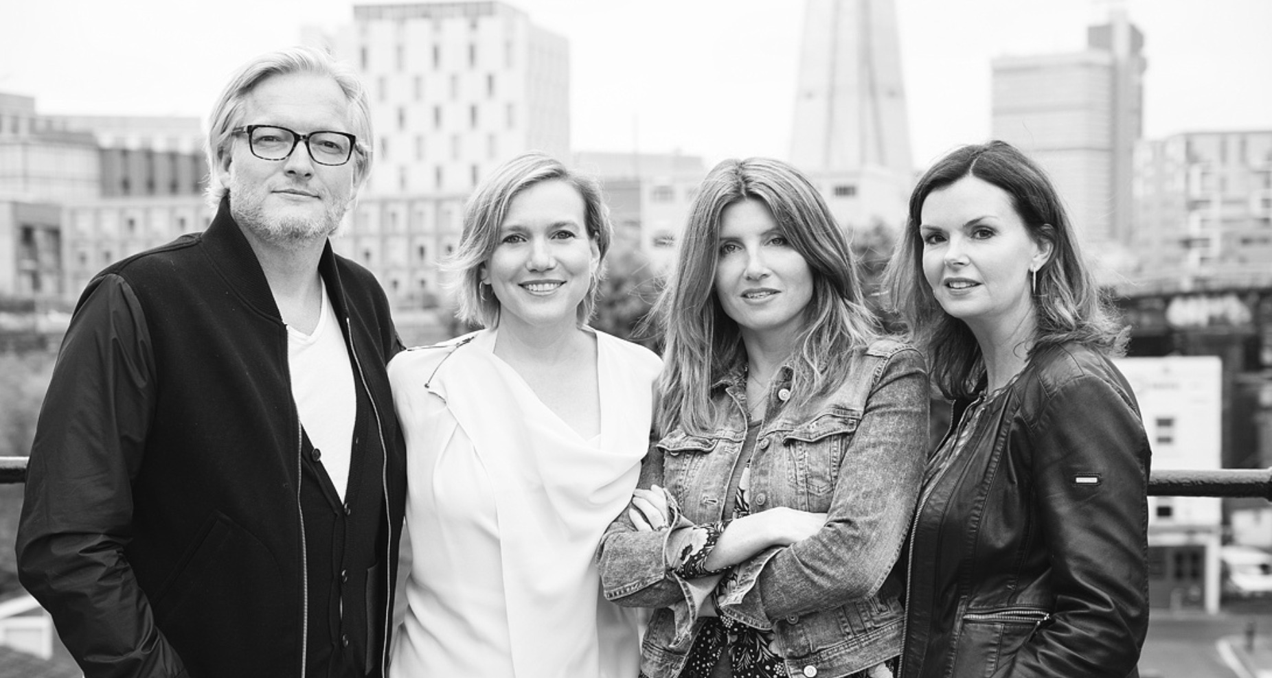 Pictured from left: Jeremy Rainbird, Kira Carstensen, Sharon Horgan, Clelia Mountford