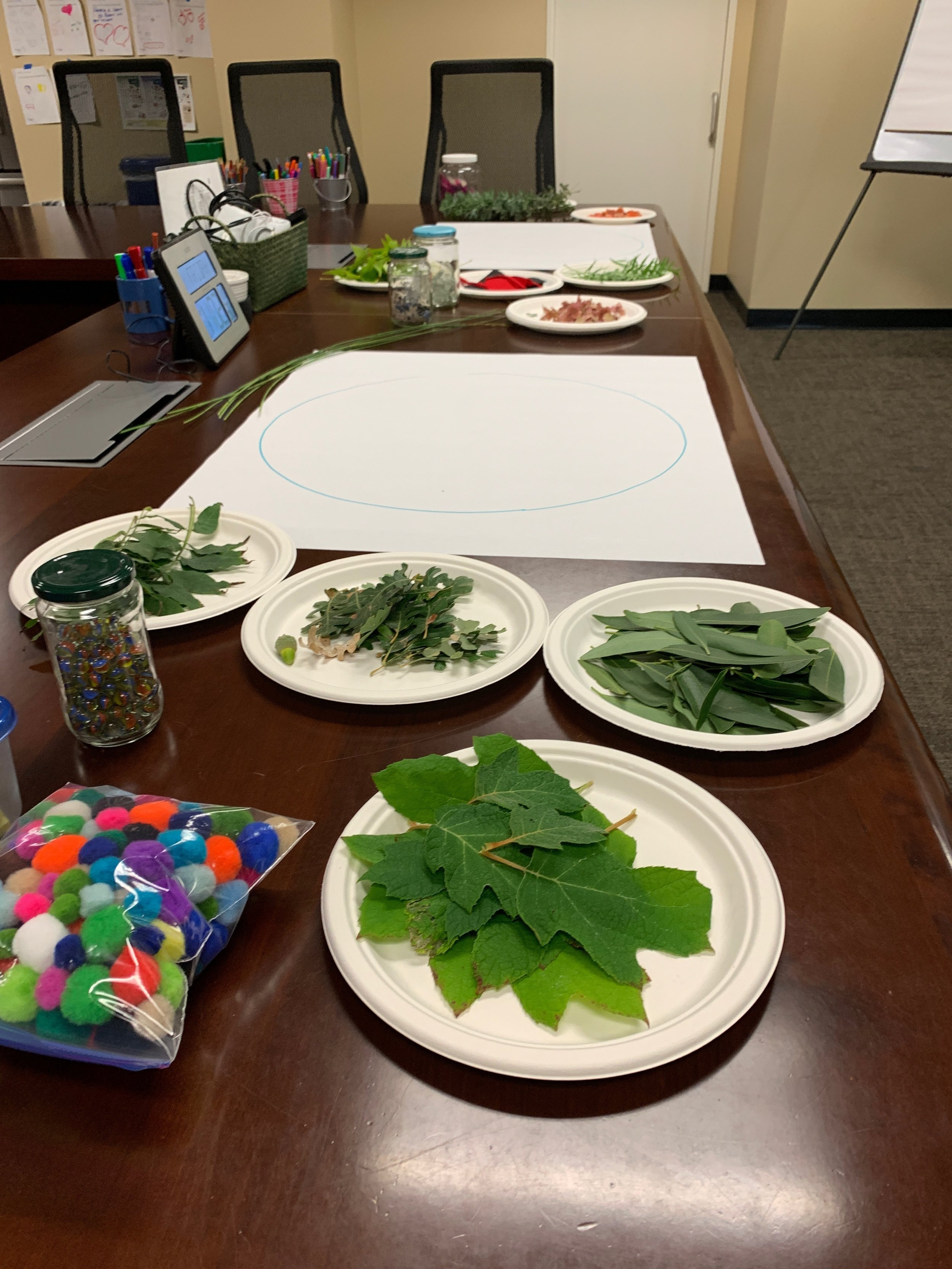 Items to arrange into mandalas ready to go for our experience today. (Photograph shows a conference room table with plates of leaves, flowers, and other items to arrange on white paper.)