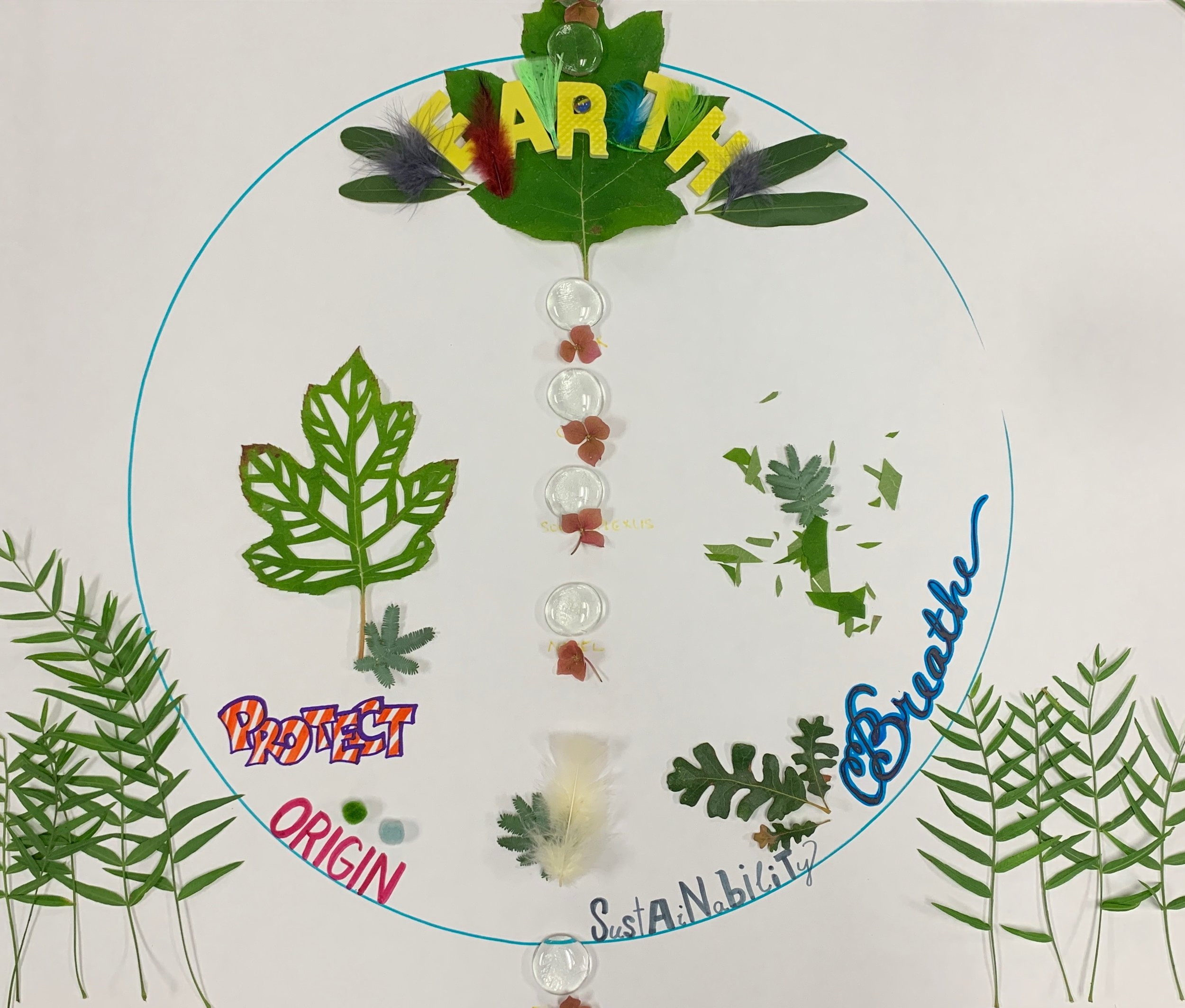 """Completed mandala with the words """"earth"""" """"protect"""" """"origin"""" """"sustainability"""" and """"breathe"""""""