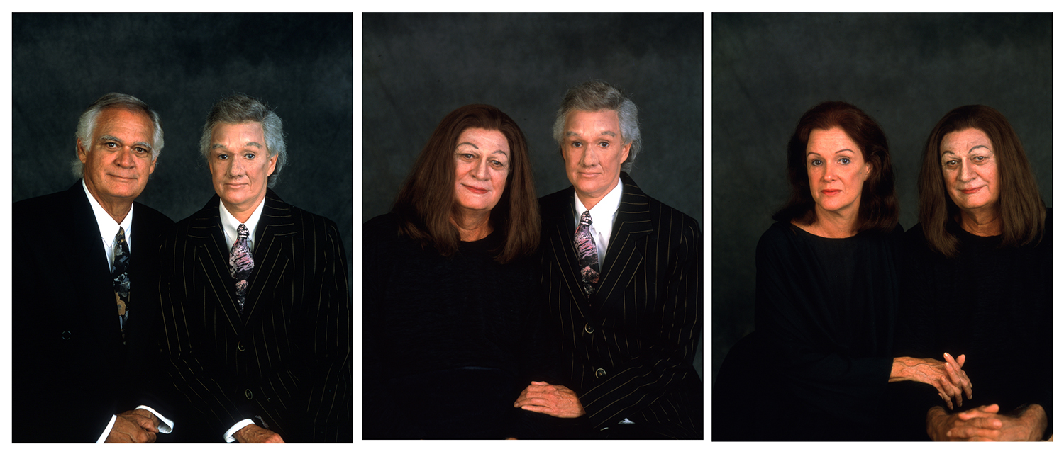 Mom and Dad,  1994, mother, father, makeup, cibachrome triptych, and artist's frames, image via  artist's website
