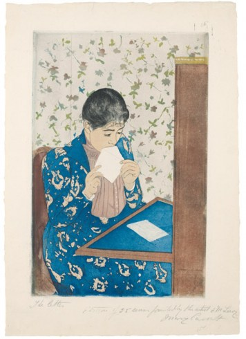 Mary Cassatt (1844–1946). The Letter , 1890–91. Drypoint and aquatint on cream laid paper, 34.4 x 21.1 cm. S.P. Avery Collection, Miriam and Ira D. Wallach Division of Art, Prints and Photographs, The New York Public Library, Astor, Lenox and Tilden Foundations  Image via  The Guggenheim