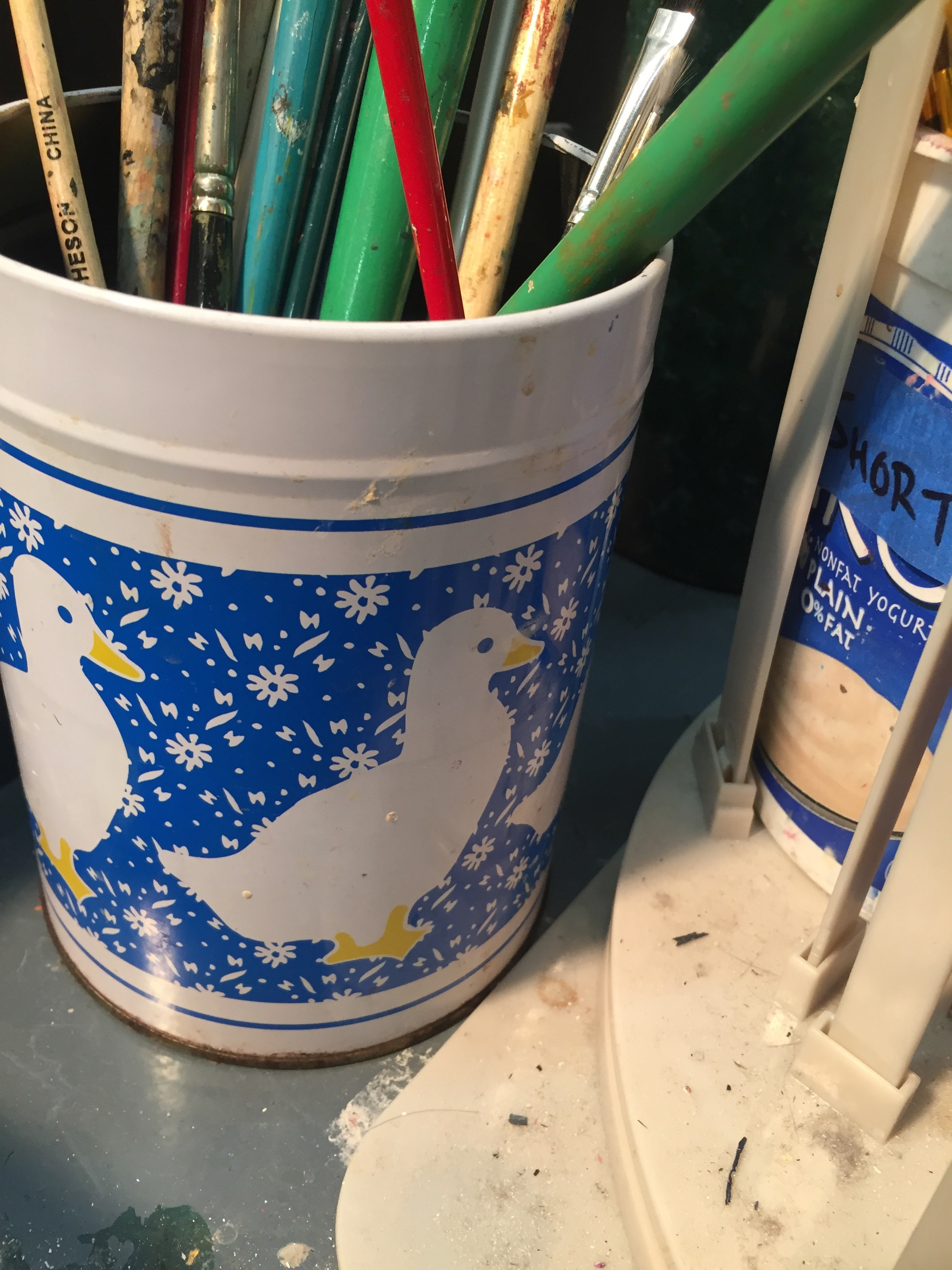Was inspired by these ducks on the paint brush holder to use that imagery for my piece