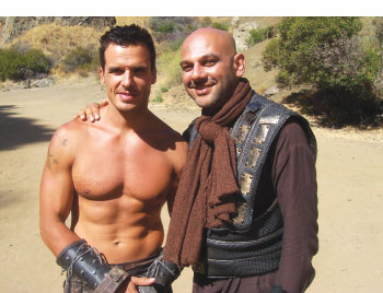 Chacko (right) and Antonio Sabato Jr on the set of Princess of Mars