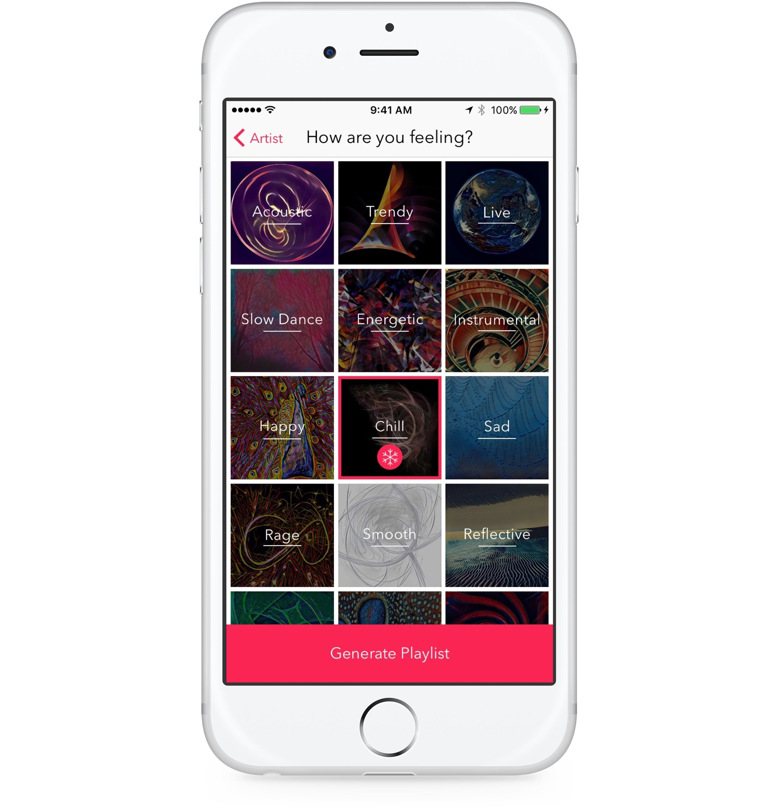 Choose from 18 diverse mood preferences - Build your own music video playlists inspired by your moods and save them for later.