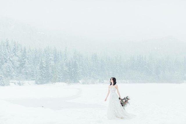 Waiting for that snowfall ❄️ Model : @claudiabakehouse  Make Up : @jasminehoffman  Planner : @bootsnlaceweddings  Florals : @mapleridgeflorist  Dress : @bisou_bridal  Designer : @galialahav  Hair : @ziastolbie  Venue : @nitalakelodge