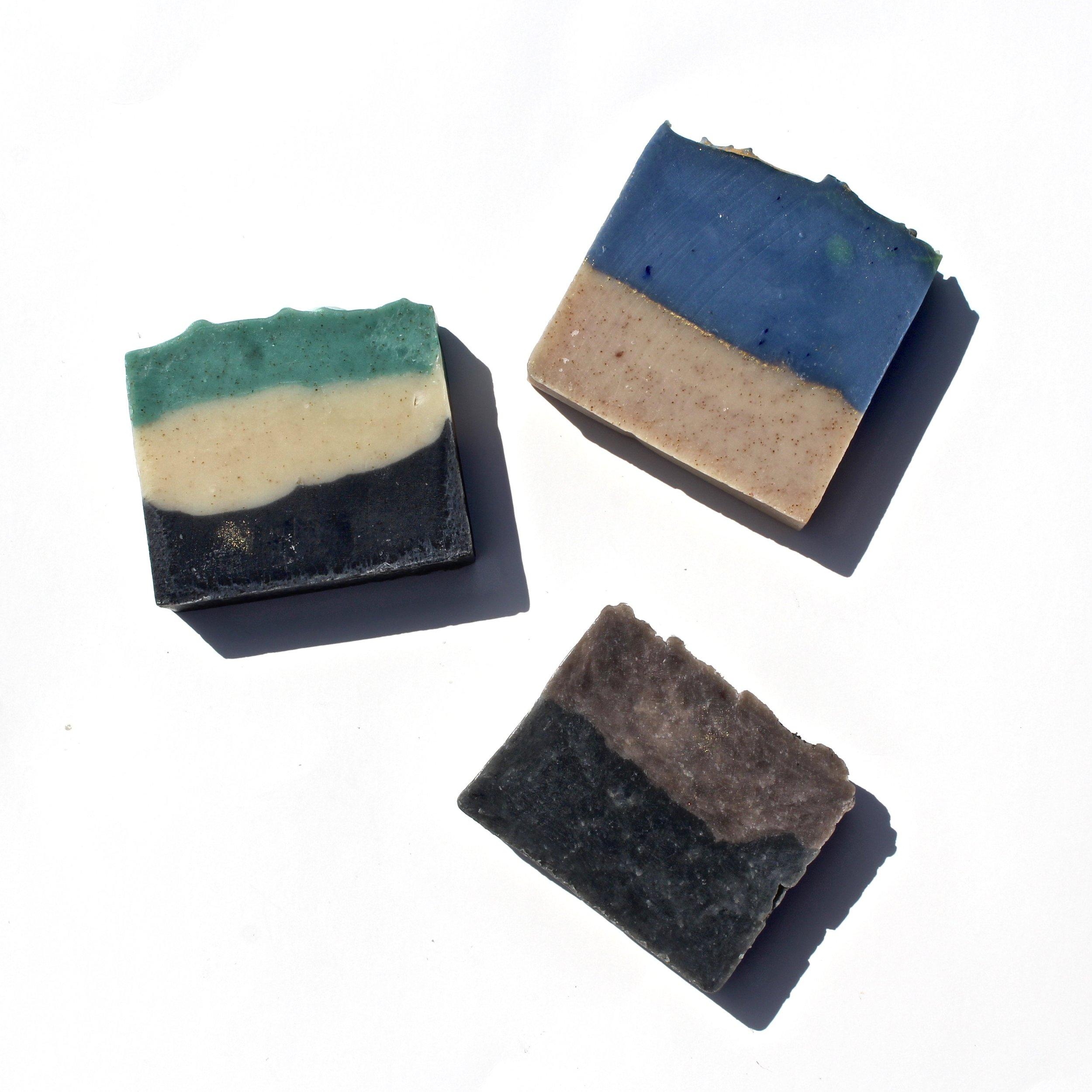 Woodsman Scrub, Island Escape & Tobacco-Bay Leaf Shave soaps make excellent ecofriendly gifts!