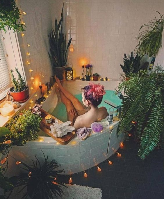 Ultimate personal charge station~ crystals, candles, plants, light, you.