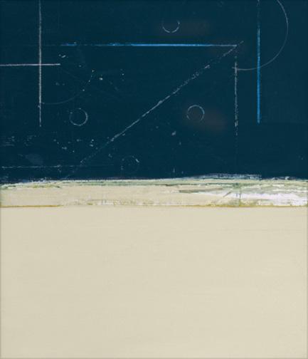 "Blue & Cream  Acrylic on Hardboard  13"" x 12""  2001"